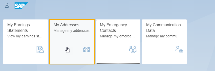 SAP page is displayed with my address tab selected