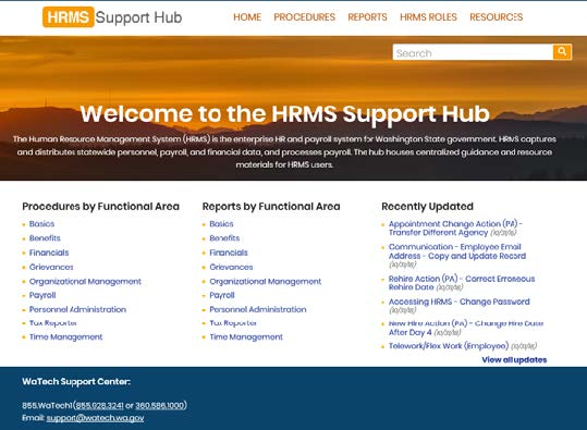 Screenshot of HRMS support hub website