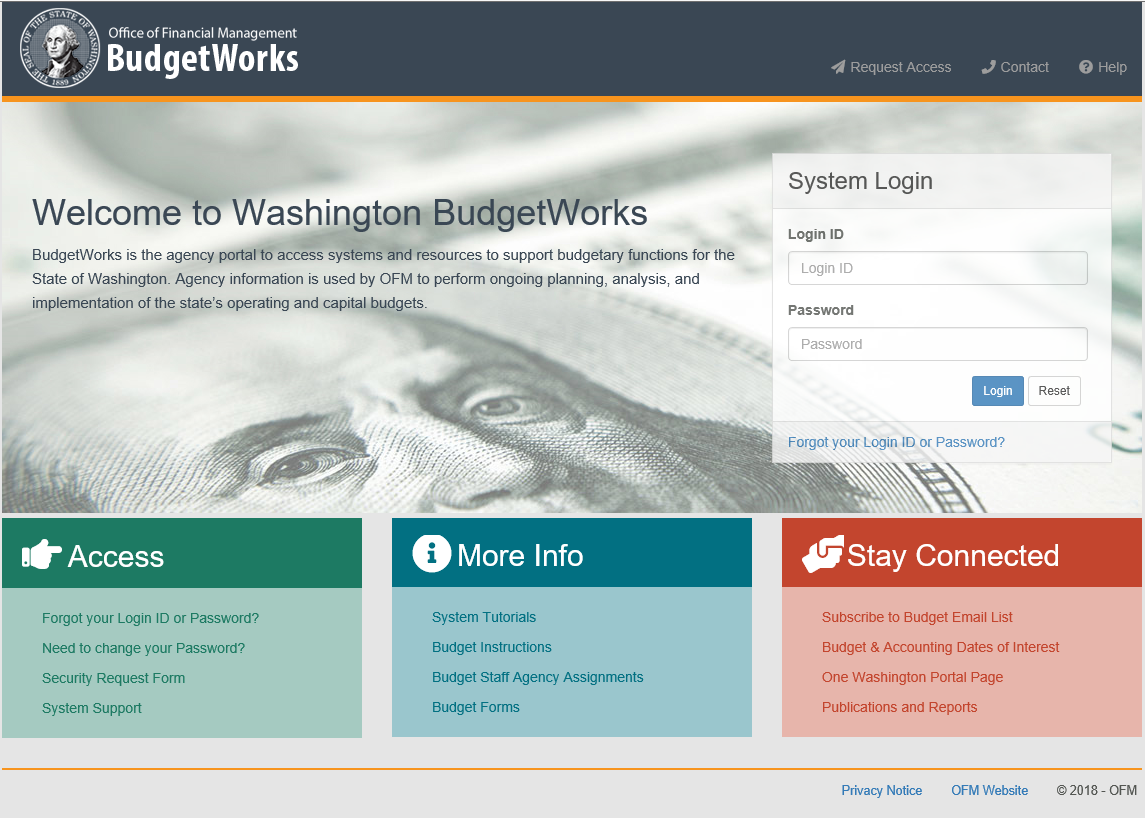 Screenshot of the new BudgetWorks system