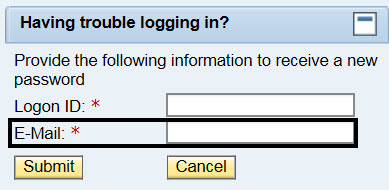 Having trouble logging in? Provide the following information to receive a new password; Logon ID* next to empty box; Circle around E-Mail* next to blank box; Submit button; Cancel button