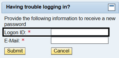 Having trouble logging in? Provide the following information to receive a new password; Logon ID* box circled; Email; Submit box; Cancel box