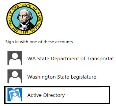 State of Washington Logo at top; Sign in with one of these accounts: Wa State Department of Transportation; Washington State Legislature; Active Directory