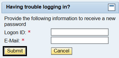 Having trouble logging in? Provide the following information to receive a new password; Logon ID: blank box; E-Mail* Blank box; Submit button circled; Cancel button