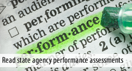 Read state agency performance assessments.