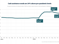 Chart shows cash assistance participants numbers fairly steady until March 2020, when there's a sharp increase, and a leveling off at 24% above previous levels